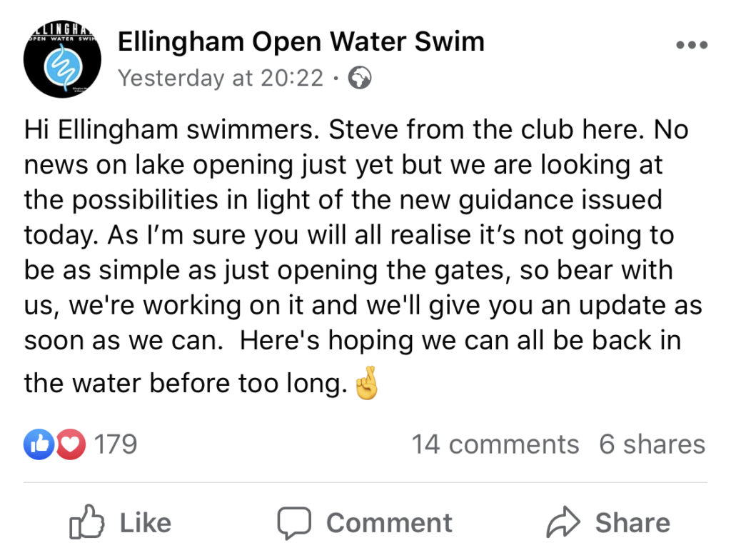 open water swimming reopens